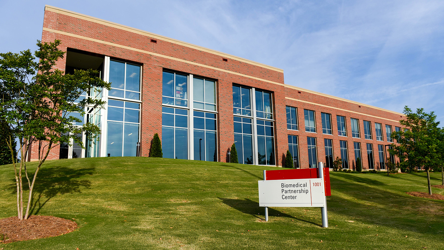 Exterior of the Biomedical Partnership Center on NC State's campus