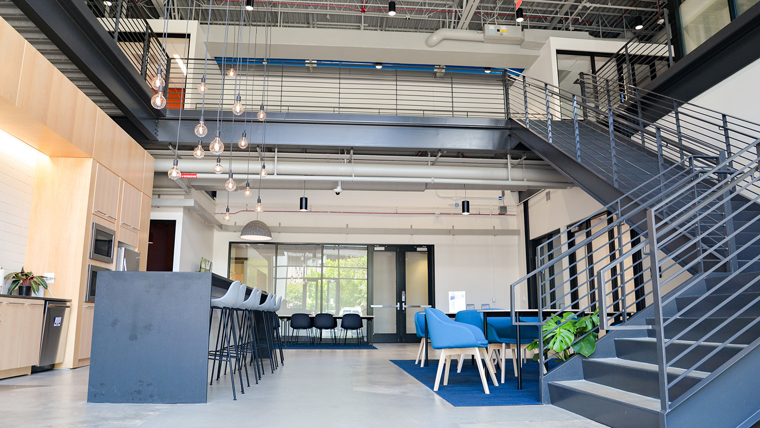 The sleek lobby of HQ Raleigh's co-working space on Centennial Campus.