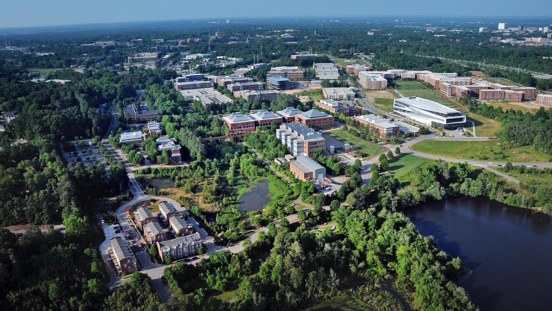 An aerial view Centennial Campus.