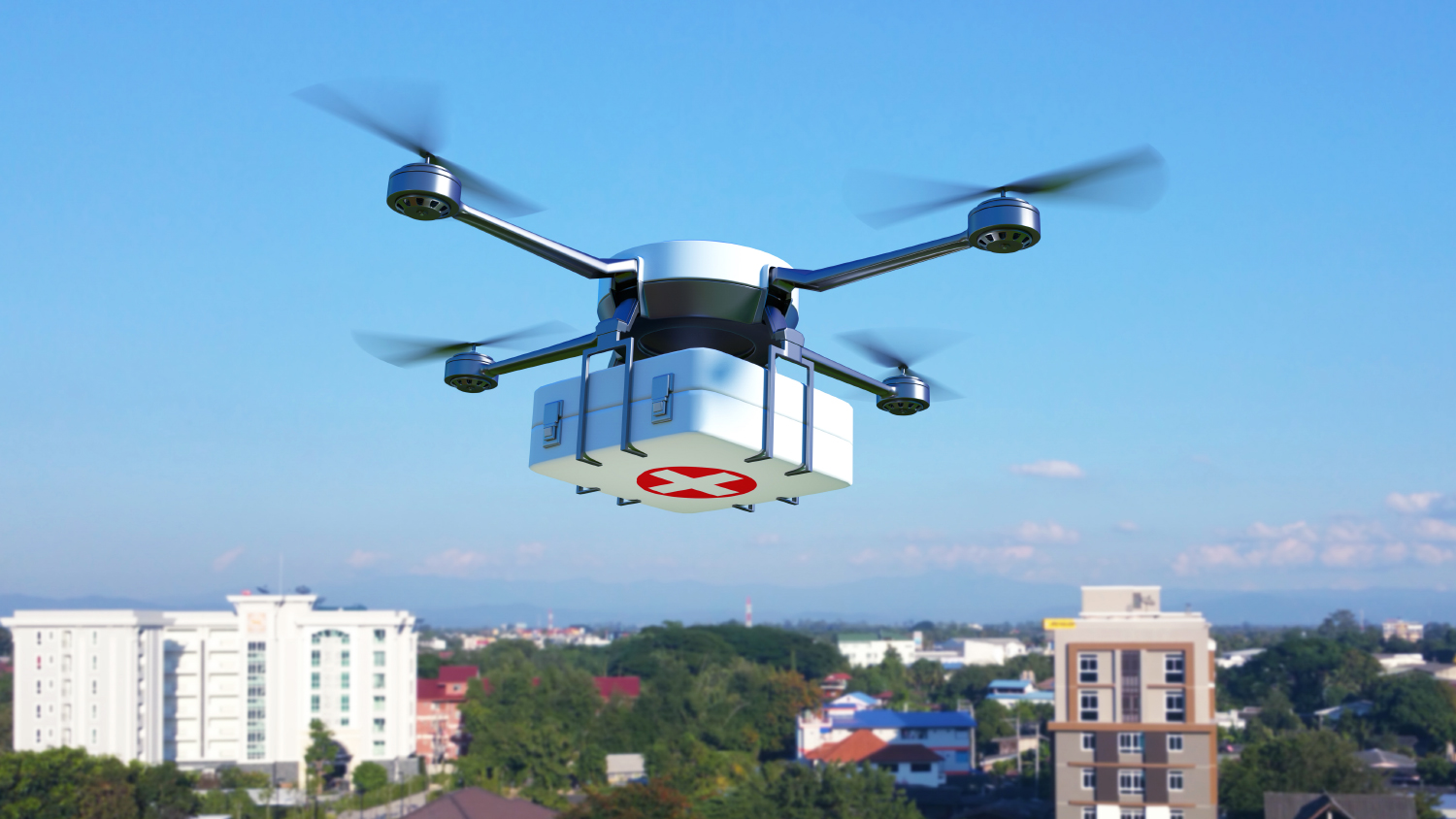 A flying drone delivers medical supplies.