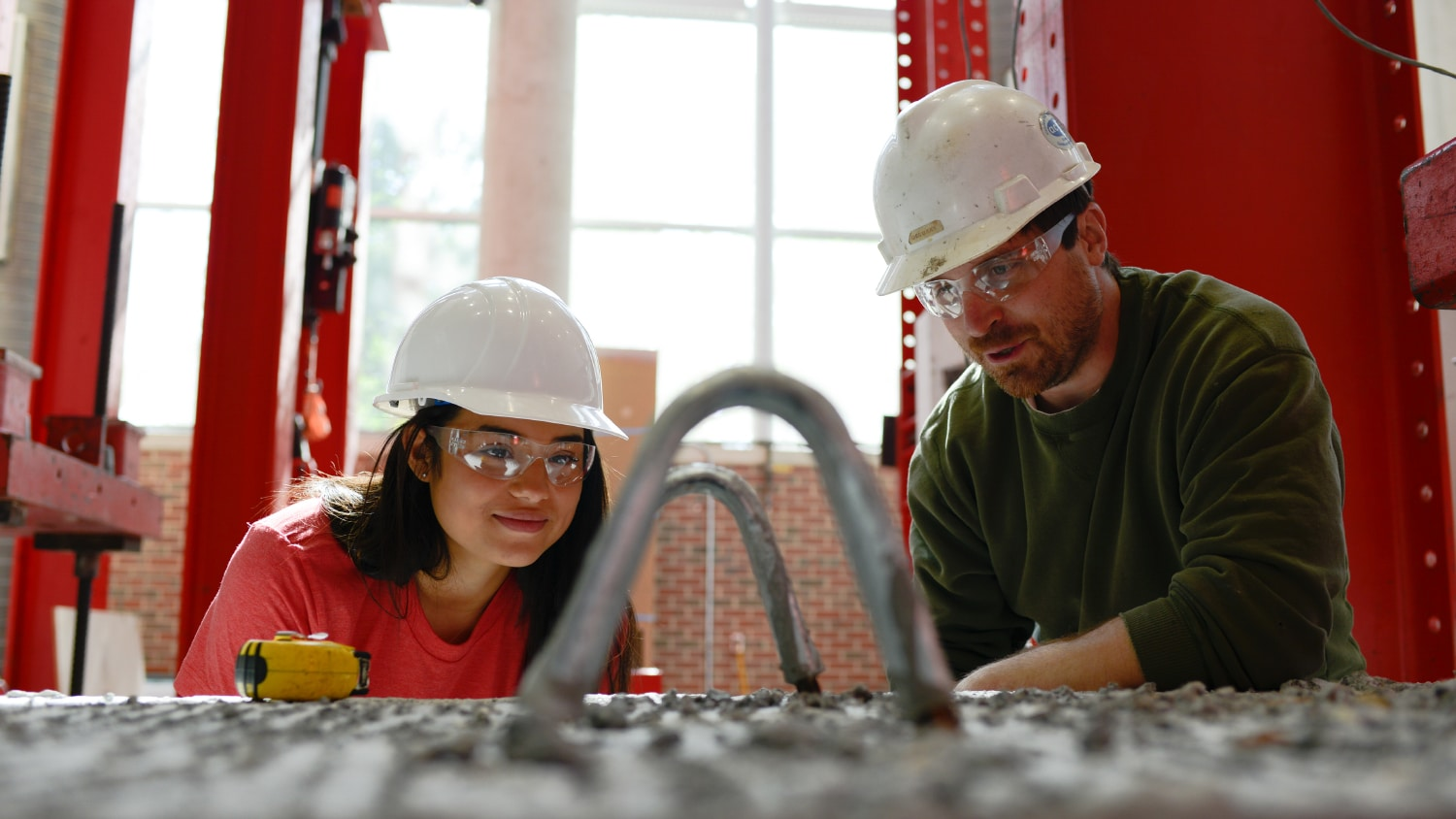 Two people working at the Constructed Facilities Lab.