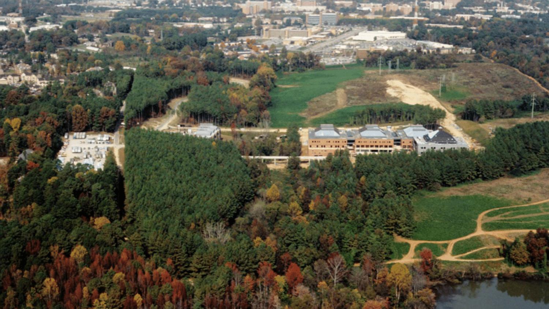An aerial view of Centennial Campus in 1989.